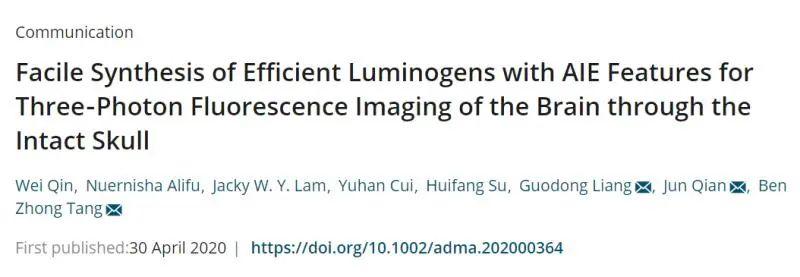 首创AIE点无创3PF显微成像技术,实现活体脑卒中过程可视化