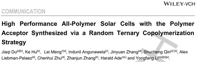 化学所李永舫院士团队:三元共聚受体助力高效全聚太阳能电池