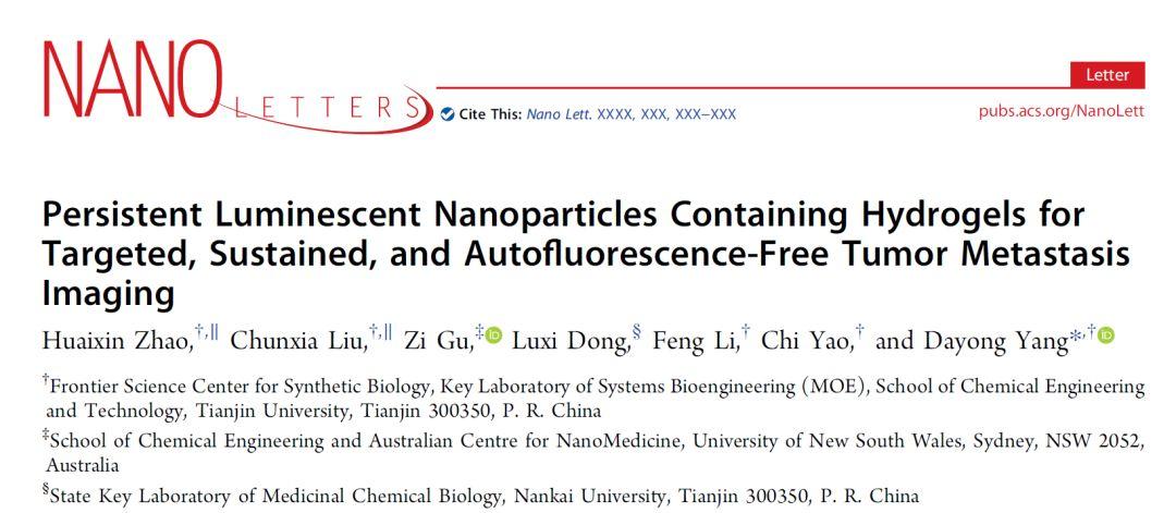 天津大学仰大勇《Nano Letters》:长余辉水凝胶用于靶向、持续和无自发荧光的肿瘤转移成像