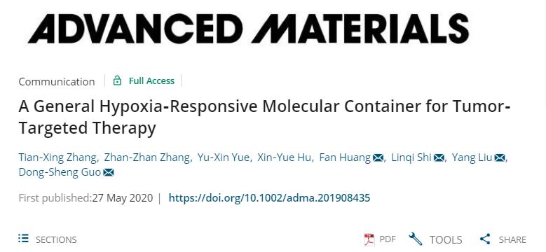 史林啟/劉陽/郭東升《先進材料》:以低氧敏感超分子作船,載藥劃向腫瘤