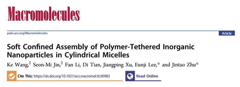 华中科技大学朱锦涛教授团队《Macromolecules》:聚合物接枝的无机纳米粒子在柱状胶束中的软受限行为