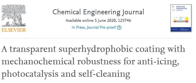 福州大學賴躍坤團隊:具有超強化學機械穩定性的透明超疏水塗層,可防冰,光催化和自清潔