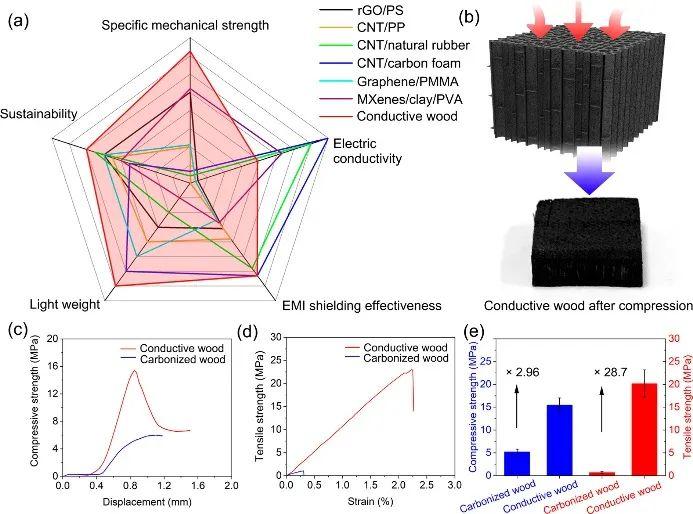 胡良兵/王超《CM》:高強度、高電磁屏蔽性能的導電木材