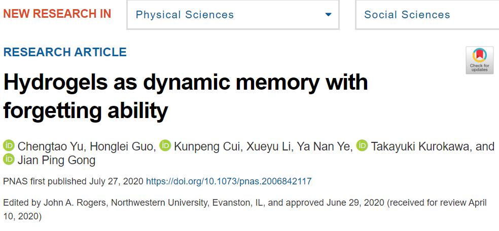 """北海道大学龚剑萍团队:具有像""""人脑""""一样记忆和遗忘行为的水凝胶"""