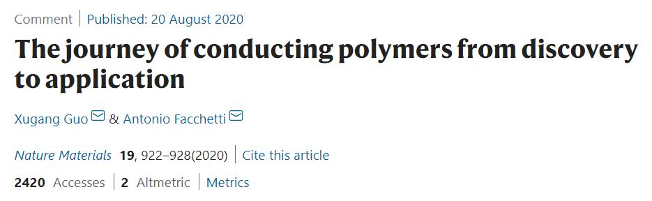 导电聚合物如此有魅力!9篇《自然·材料》一网打尽