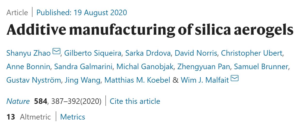 纯硅气凝胶也可以3D打印!工业隔热材料新突破