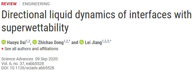 江雷院士、董智超《Sci.Adv》综述:超润湿性界面的定向液体动力学