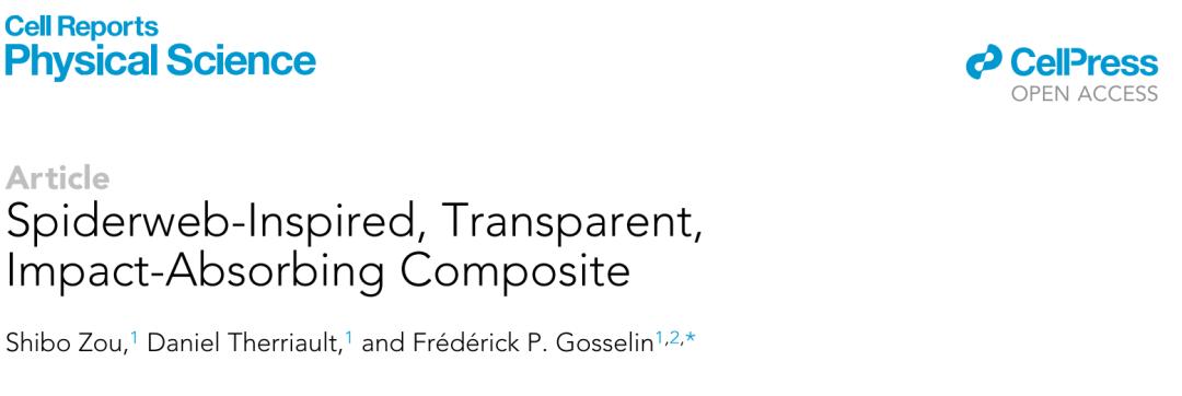 《Cell》子刊:像蛛网一样强韧的抗冲击透明复合材料