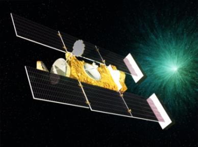 """伸出类似网球拍的""""气凝胶尘埃收集器""""来收集彗星尘埃微粒的美国星尘号彗星探测器示意图(图片来源:NASA)"""