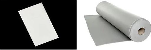 左:动力电池隔热用气凝胶片 右:动力电池专用隔热泡棉